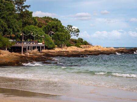 Beach front bars, shops and restaurants on Sai Kaew Beach on the island of Koh Samet Thailand
