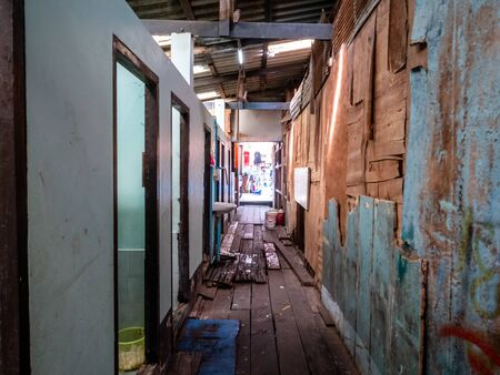 Block of toilets at the Rayong Passenger terminal. Very poor condition and dangerous