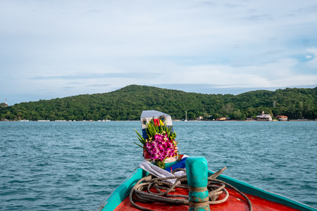View of the front of Thai passenger boat as it sails towards the National Reserve Island of Koh Samet