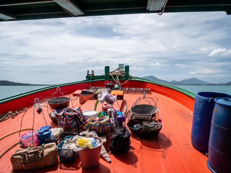 Thai Transport vessel taking tourists and cargo to and from the thailand of koh samet thailand