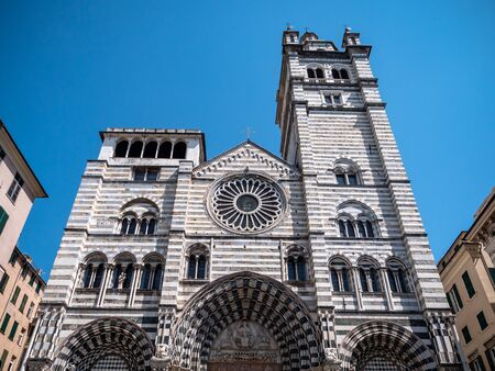 Genoa, Italy Cattedrale di San Lorenzo Black and white striped Romanesque cathedral with a frescoed interior, housing unique holy relics. Stok Fotoğraf