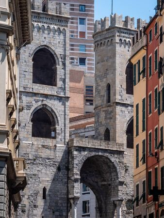 Genoa Italy The walls of Genoa Porta Soprana is the best known gate of the ancient walls of Genoa. Panoramic scenic with no people and copy space