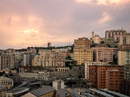 Genova Piazza Principe railway station is the central station of Genoa and is located on Piazza Acquaverde. Shot early evening during sunset in summer Standard-Bild - 139775994