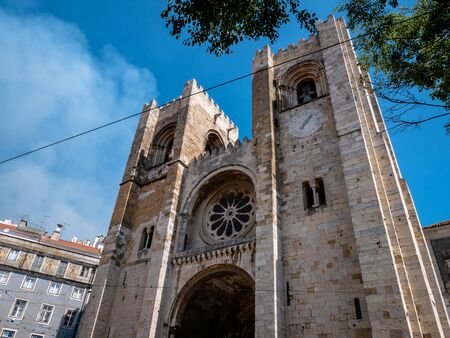 Lisbon Portugal Famous Landmark Lisbon Cathedral Shot Midday in Summer Tourist Attraction No People September 13, 2019, Earthquakes have led to this cathedral being rebuilt many times in different arc Standard-Bild - 139852107