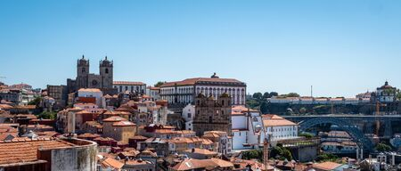 Porto Portugal Cityscape Skyline view of Porto old town Shot Midday in Summer panoramic views No People September 1, 2019, This popular terrace offers dramatic, panoramic views of city rooftops & the Standard-Bild - 139857560