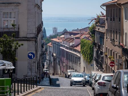 Lisbon Portugal Street View City life Normal Day Showing Everyday Life Lisbon Residents September 13, 2019, Streets adorned with beautiful residential buildings and apartments in the old town Standard-Bild - 139858011