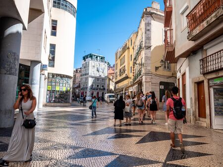 Lisbon Portugal Street View City life Normal Day Showing Everyday Life Lisbon Residents September 13, 2019, Streets adorned with beautiful residential buildings and apartments in the old town Standard-Bild - 139857743
