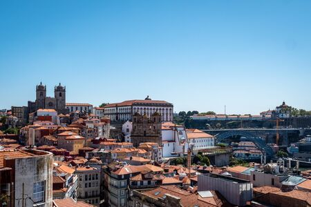 Porto Portugal Cityscape Skyline view of Porto old town Shot Midday in Summer panoramic views No People September 1, 2019, This popular terrace offers dramatic, panoramic views of city rooftops & the Standard-Bild - 139857661