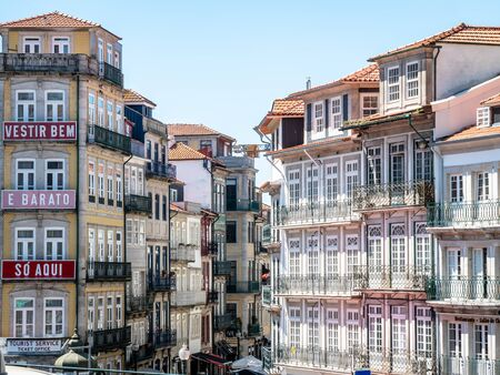 Porto Portugal Street View City life Normal Day Showing Everyday Life Porto Residents September 1, 2019, Streets adorned with beautiful residential buildings and apartments in the old town Standard-Bild - 139857613