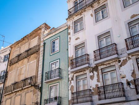 Lisbon Portugal Residential Buildings Heart of the City Close up shot Showing Everyday Life Lisbon Residents September 13, 2019, Streets adorned with beautiful residential buildings and apartments in Standard-Bild - 139857800