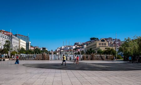 Lisbon Portugal Street View Plaza Dom Duarte Shot Midday in Summer Showing Everyday Life Lisbon Residents September 13, 2019, Streets adorned with beautiful residential buildings and apartments in the Standard-Bild - 139857561