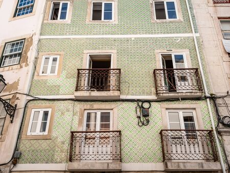 Lisbon Portugal Residential Buildings Heart of the City Close up shot Showing Everyday Life Lisbon Residents September 13, 2019, Streets adorned with beautiful residential buildings and apartments in Standard-Bild - 139857731