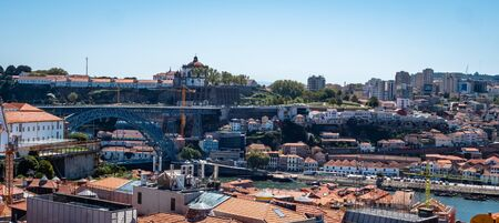Porto Portugal Cityscape Skyline view of Porto old town Shot Midday in Summer panoramic views No People September 1, 2019, This popular terrace offers dramatic, panoramic views of city rooftops & the Standard-Bild - 139857825