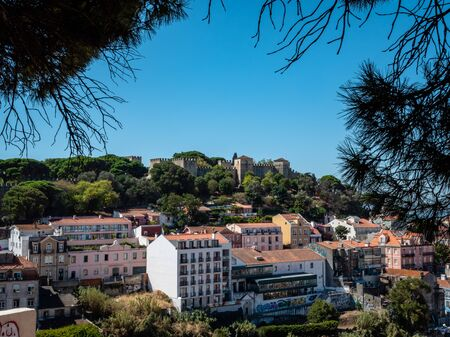 Lisbon Portugal Cityscape Skyline Castelo de S. Jorge Shot Midday in Summer Famous Landmark No People September 13, 2019, 11th-century, hilltop Moorish castle & royal residence with palace ruins & arc