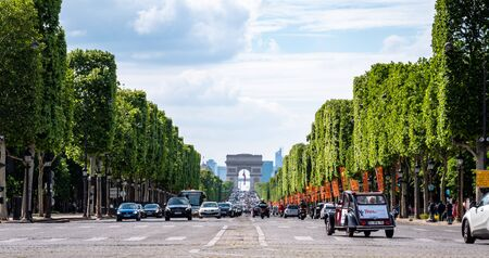 Arc de Triomphe - Paris - France. French international landmark and triumphal arch on the avenue des champs-elysees Editorial