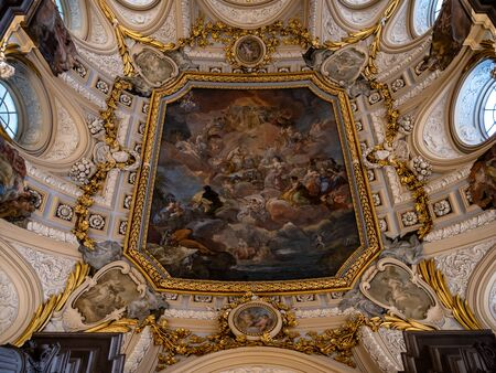 Interior view of Royal Palace of Madrid ornate paintings and Facades. Elaborate ornate beautiful furnishings and decor in this amazing palace. Palacio Real de Madrid