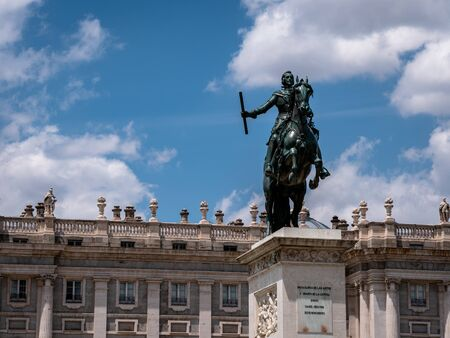 Memorial to Philip IV of Spain in the centre of Plaza de Oriente next to the royal palace in Madrid, Spain. Copy Space
