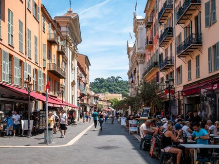 Cafes and Restaurants offering outside dining in the old town of Nice France. Fine French dining that tourists love to sample as part of their vacation