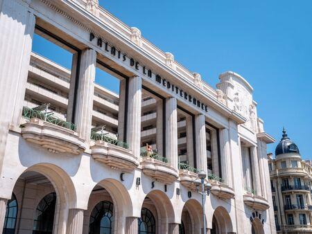 Entrance Sign of the Famous landmark the Casino Du Palais De La Mediterrane located on the beach front of Nice Paris. Building exterior view