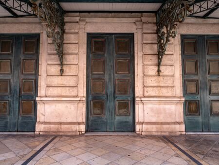 Old Theatre Doors at the Opera de Nice located in the old town beach front area. Landmark performing arts venue with an opulent interior showcasing opera, ballet & music