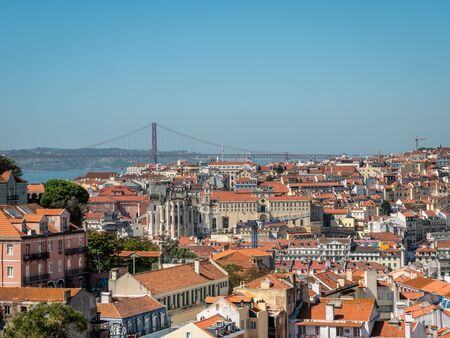 Lisbon Portugal Cityscape Skyline view of lisbon old town Shot Midday in Summer panoramic views No People September 13, 2019, This popular terrace offers dramatic, panoramic views of city rooftops & t