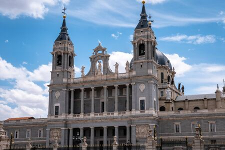Catedral de la Almudena next to the Madrid Royal Palace. Baroque Catholic cathedral known for its colorful chapels, plus a Romanesque crypt & museum. Top tourist attraction for visitors and must see for all tourists interested in churches and cathedrals Editorial