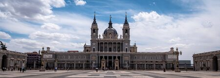 Catedral de la Almudena next to the Madrid Royal Palace. Baroque Catholic cathedral known for its colorful chapels, plus a Romanesque crypt & museum. Top tourist attraction for visitors and must see for all tourists interested in churches and cathedrals Publikacyjne