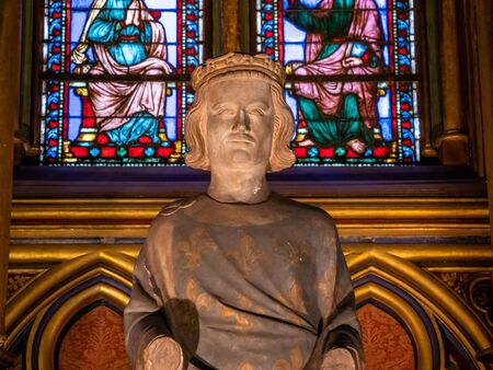 Sainte-Chapelle Cathedral Statue of Louis IX in Paris France part of a later administrative complex known as La Conciergerie