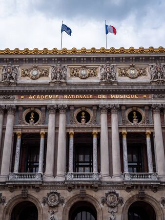 The Palais Garnier opera house theatre Library and Museum in Paris, France. Close Up no People Редакционное