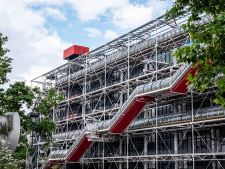 The Centre Pompidou Paris France's National Museum of Modern Art and Library. Top tourist attraction and ground breaking post modern building design architecture