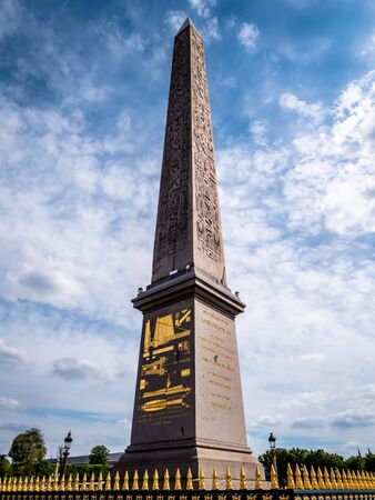 Place de la Concorde Egyptian styled obelisk tower found in the heart of downtown Paris France and recognised as an international landmark
