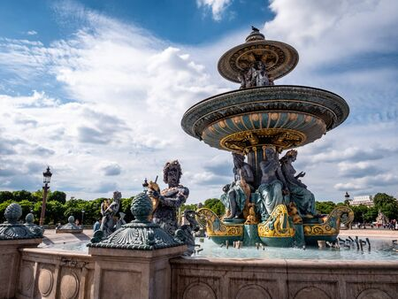 Fontaine des Mers fountain on the Place de la Concorde in the heart of Paris France. Beautiful sculpture and must visit site and tourist attraction