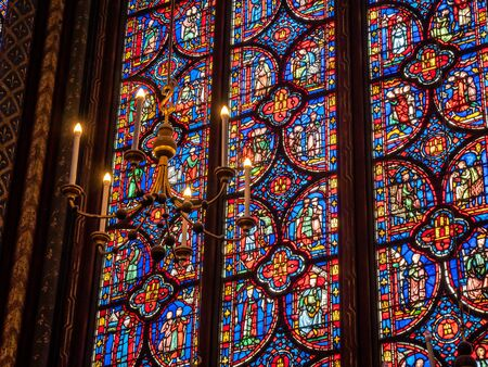 The Sainte-Chapelle Cathedral in Paris France. Building Interior Decor famous for its stunning stained glass windows