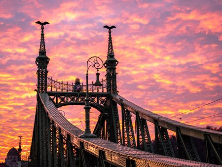 Liberty Bridge or Freedom Bridge in Budapest, Hungary, connects Buda and Pest across the River Danube