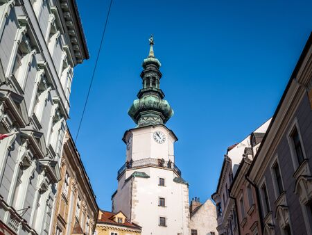 Historical clock tower of Bratislava, famous Saint Michael Gate which is the only city gate preserved from medieval time. No people