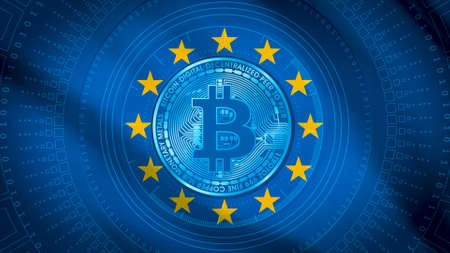 EU European Flag with Bitcoin image on top. The EU have stated they will be looking to bring in full crypto currency regulations by 2024 Standard-Bild