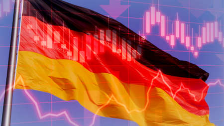 Concept Piece to show the German economy in decline as it struggles to cope with the COVID19 Economic crisis. Showing German flag with negative chart data and performance