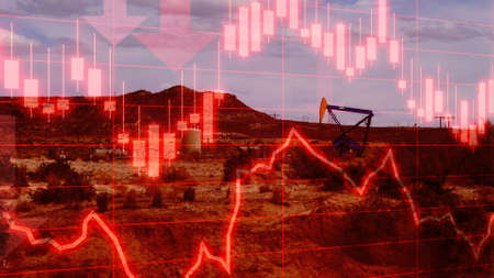 Oil Market performance data with USA oil field location behind. Concept piece to simulate falling and volatility in Oil, Energy and futures markets