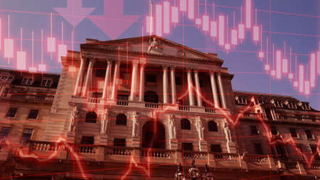 Concept piece to show Bank considering implementing negative interest rates to help stimulate the economy, London, UK.