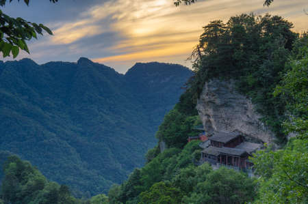 South rock sunset in Wudang Mountains, Hubei, China