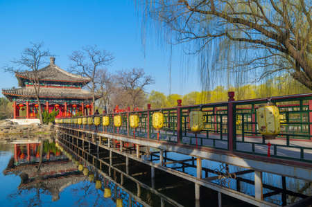 Beijing Yuanmingyuan park early spring scenery