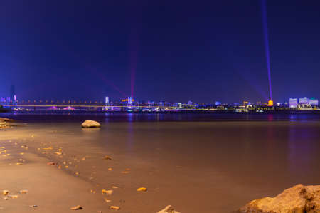 Hubei, Wuhan, shores of the light show night scenery