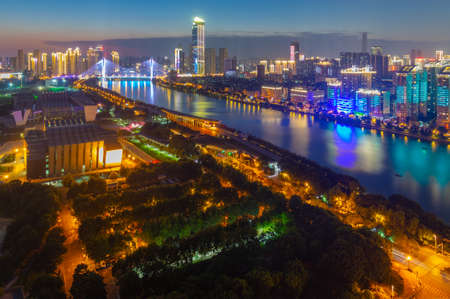 Wuhan Summer City Skyline Night Scenery