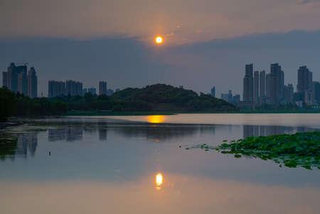 Wuhan Summer City Skyline Evening Scenery