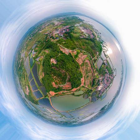 Aerial photography of Baoye Lake National Wetland Park, Daye, Hubei