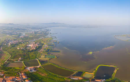 Aerial photography of Baoye Lake National Wetland Park, Daye, Hubei