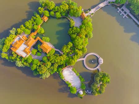 Hubei Huangshi Magnetic Lake Park aerial scenery 版權商用圖片