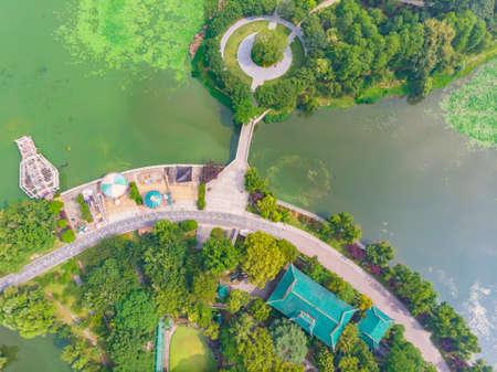 Wuhan Qintai Yuehu Park aerial scenery Stock Photo