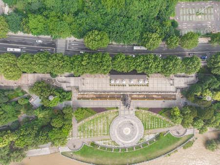 Wuhan Summer City park Aerial Scenery