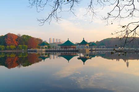 Late autumn scenery of East Lake Scenic Area in Wuhan, Hubei 免版税图像